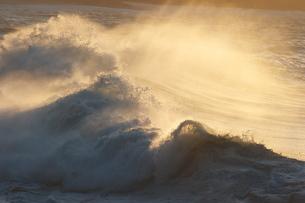 夕日に照らされた波しぶきの写真素材 [FYI00434482]