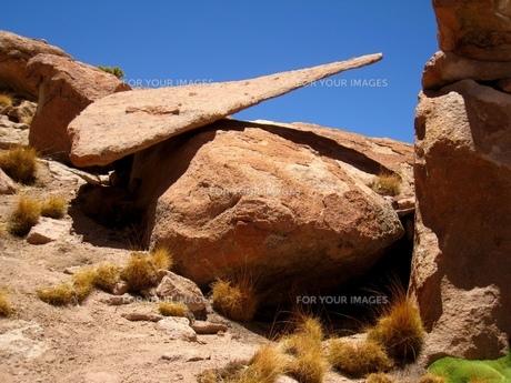 ボリビアの砂漠にある奇岩の写真素材 [FYI00435467]