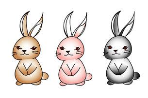 ウサギ3色の写真素材 [FYI00435839]