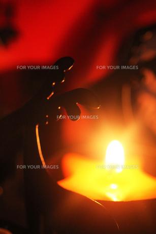 トナカイのキャンドルライトの写真素材 [FYI00436093]