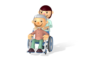 車イス 介護 女性の写真素材 [FYI00436206]