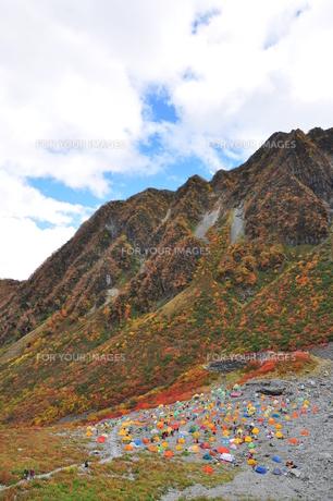 涸沢テント村と紅葉の写真素材 [FYI00436353]