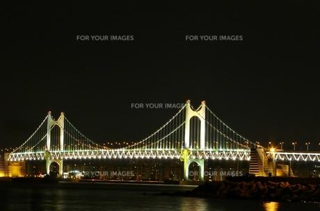海雲台から見た夜の広安大橋の写真素材 [FYI00438992]