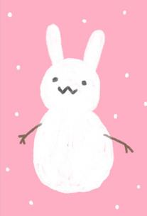 うさぎの雪だるまの写真素材 [FYI00439403]
