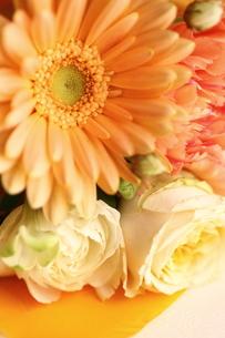 オレンジ色のガーベラが入ったブーケの写真素材 [FYI00439463]