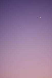 月と金星と夕空の写真素材 [FYI00439512]