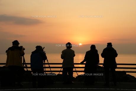 朝日を撮影するカメラマン室戸岬室戸ジオパークの写真素材 [FYI00439777]