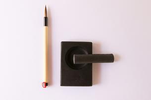 書道 筆 硯 墨の写真素材 [FYI00440002]