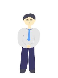 困った顔の男性のイラストの写真素材 [FYI00440055]