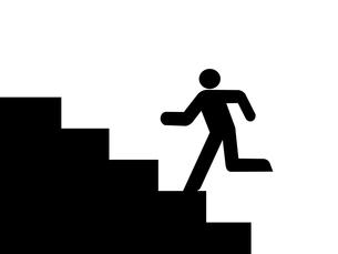 階段を上る人のイラスト 左向きの写真素材 [FYI00440188]