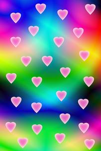 虹色の背景とハートマークの写真素材 [FYI00440194]