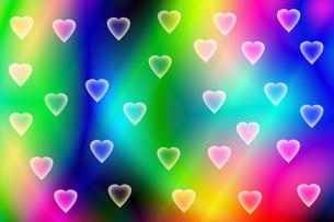 ハートと虹色の背景の写真素材 [FYI00440200]