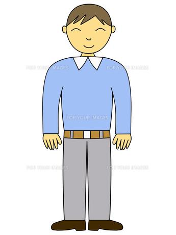 カジュアルな服装の男性のイラストの素材 [FYI00440201]