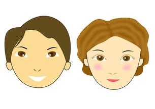 カップルの顔のイラストの写真素材 [FYI00440214]