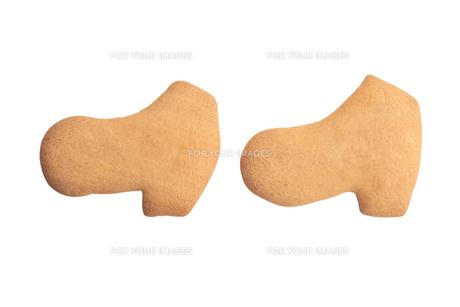 ブーツの形の二個のクッキーの写真素材 [FYI00440215]