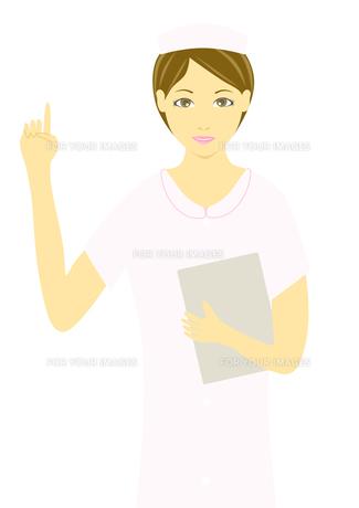 指を上げて説明する看護婦のイラストの素材 [FYI00440246]