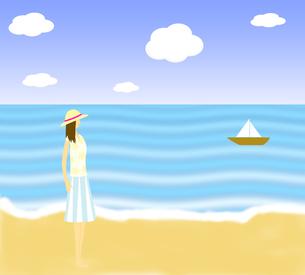 海を見る女性のイラストの写真素材 [FYI00440252]