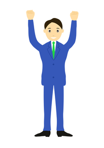 両手を上げてガッツポーズする男性のイラストの写真素材 [FYI00440253]