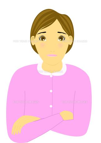 困った顔の女性のイラストの素材 [FYI00440258]