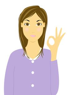 OKサインをする女性のイラストの写真素材 [FYI00440269]