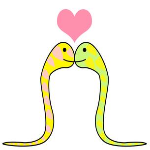 2匹の蛇とハートのイラストの素材 [FYI00440286]