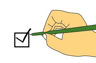 緑色の鉛筆を持った手とチェックボックスのイラストの写真素材 [FYI00440292]