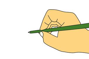 緑色の鉛筆を持った手のイラストの写真素材 [FYI00440294]
