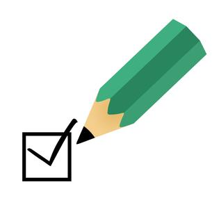 チェックボックスと緑色の鉛筆の写真素材 [FYI00440296]