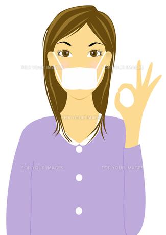 マスクをしてOKサインをする女性の素材 [FYI00440300]