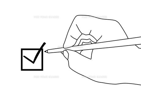 チェックボックスと鉛筆と手のイラストの素材 [FYI00440302]