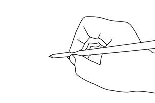 鉛筆を持った手のイラストの写真素材 [FYI00440305]