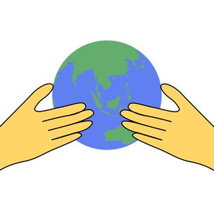 地球儀を持つ手のイラストの写真素材 [FYI00440316]