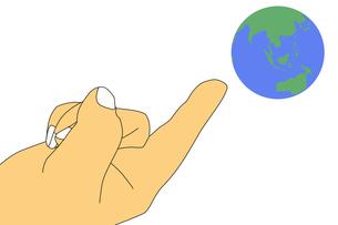 地球儀と指差す右手のイラストの素材 [FYI00440317]