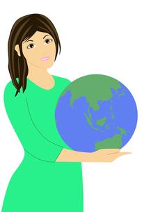 地球儀を持つ女性のイラストの素材 [FYI00440318]