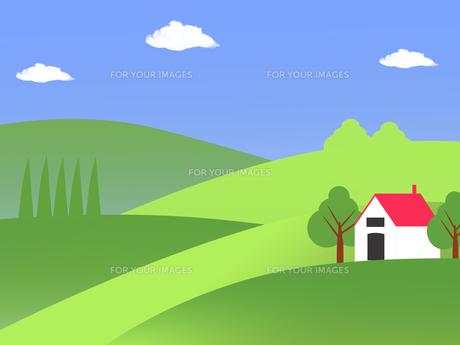 丘に建つ赤い屋根の家のイラストの素材 [FYI00440320]