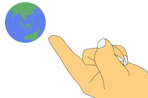 左手と地球のイラストの写真素材 [FYI00440324]