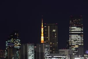 新宿から望む東京タワーの夜景の写真素材 [FYI00442501]