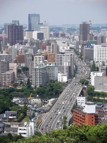 大年寺から望む仙台の展望風景(愛宕橋方向)の写真素材 [FYI00442750]