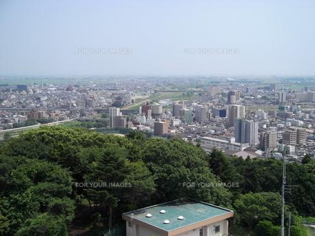 大年寺から望む仙台の展望風景(広瀬橋方向)の写真素材 [FYI00442751]