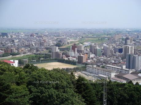 大年寺から望む仙台の展望風景(広瀬橋方向)の写真素材 [FYI00442764]