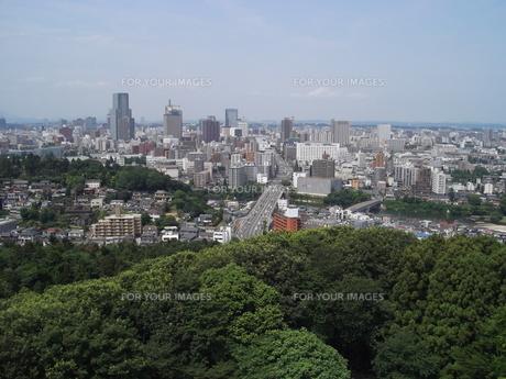 大年寺から望む仙台の展望風景(愛宕橋方向)の写真素材 [FYI00442766]