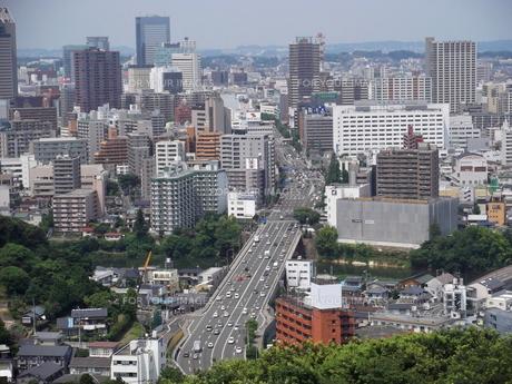 大年寺から望む仙台の展望風景(愛宕橋方向)の写真素材 [FYI00442767]