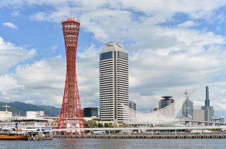 神戸ハーバーランドからポートタワー昼横位置の写真素材 [FYI00443561]
