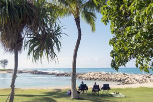 木陰でくつろぐカップル、コオリナリゾートオアフ島、ハワイ-2の写真素材 [FYI00443963]