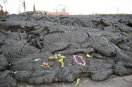 ハワイ島ボルケーノの溶岩流の被害-5の写真素材 [FYI00444029]