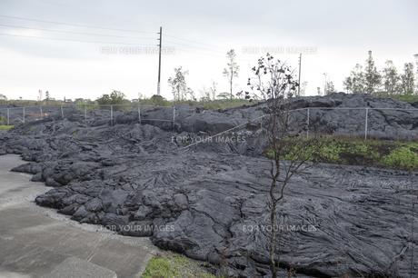 ハワイ島ボルケーノの溶岩流の被害-12の写真素材 [FYI00444035]