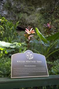 ワイルアヘリテージトレイルのサインボード、カウアイ島、ハワイの写真素材 [FYI00444042]