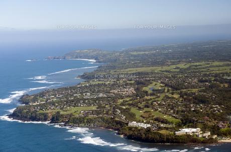 プリンスビル空撮、カウアイ島、ハワイ-1の写真素材 [FYI00444059]