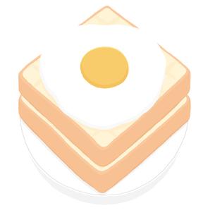 食パンと目玉焼きのイラスト素材 [FYI00444379]
