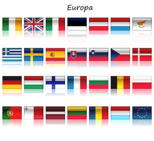 欧州連合 加盟国27ヶ国の国旗と欧州連合の旗の写真素材 [FYI00447820]